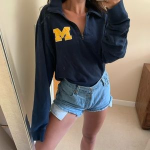 Vintage Oversized Michigan Quarter Zip Navy XXL